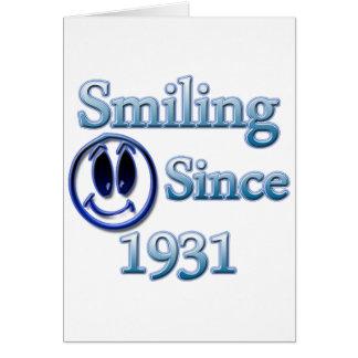 Sonrisa desde 1931 tarjeta de felicitación
