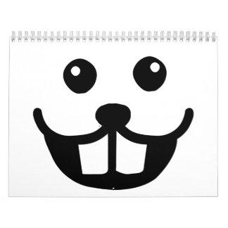Sonrisa divertida de la cara del castor calendario de pared