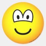 ¡Sonrisa! emoticon grande del tellow Etiqueta Redonda