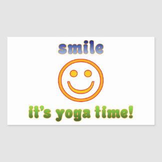 ¡Sonrisa es tiempo de la yoga! Edad de la aptitud Pegatina Rectangular