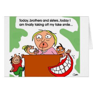Sonrisa falsa tarjeta de felicitación