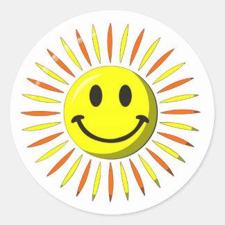 Sonrisa feliz brillante - cara sonriente pegatina redonda