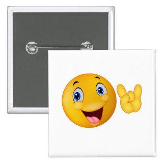 Sonrisa feliz de la llamada pin cuadrada 5 cm