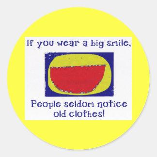 Sonrisa grande pegatina redonda