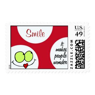 Sonrisa, hace que la gente se pregunta timbre postal