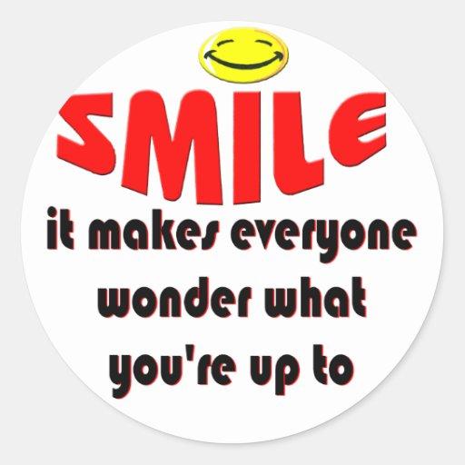 Sonrisa - haga que la gente se pregunta lo que su pegatinas redondas