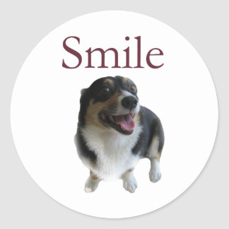 Sonrisa linda del perro pegatina redonda