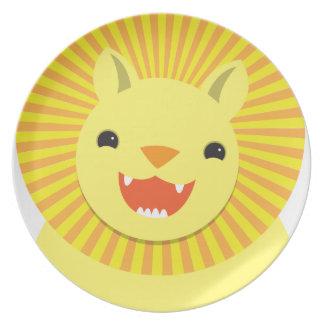 ¡Sonrisa linda estupenda de la cara del león! NP Platos De Comidas
