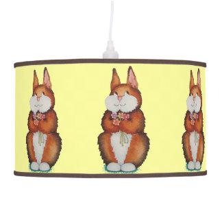 sonrisa marrón linda del conejito y arte colorido  lámpara de techo