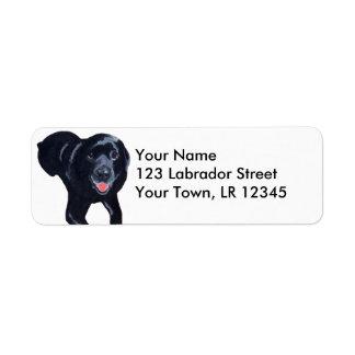 Sonrisa negra de Labrador Etiqueta De Remite