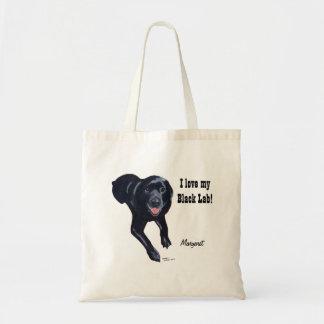Sonrisa negra personalizada de Labrador Bolsas