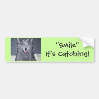 "¡""Sonrisa"" que está cogiendo! Etiqueta De Parachoque"