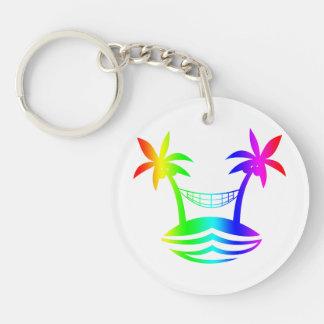 sonrisa rainbow.png de la playa de la hamaca de la llavero redondo acrílico a doble cara