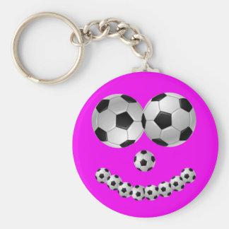 Sonrisa rosada del fútbol llaveros
