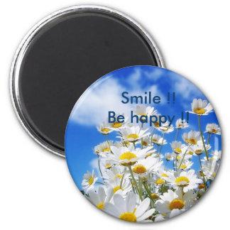 ¡Sonrisa!! ¡Sea feliz!! Imán Redondo 5 Cm