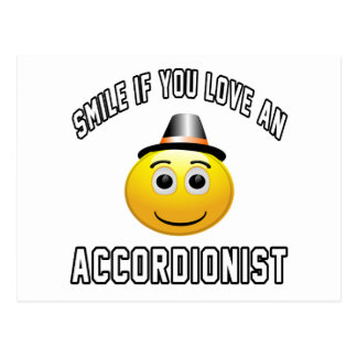 sonrisa si usted ama a un acordeonista tarjeta postal