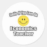 Sonrisa si usted ama a un profesor de la economía pegatina redonda