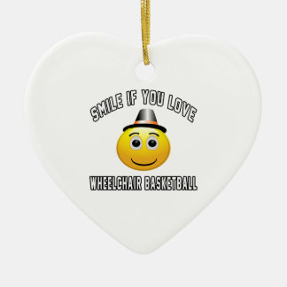Sonrisa si usted ama baloncesto de silla de ruedas adorno de cerámica en forma de corazón