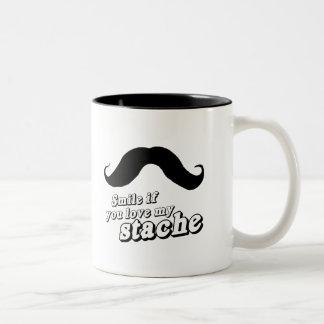 Sonrisa si usted ama mi stache tazas de café