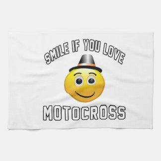 Sonrisa si usted ama motocrós toalla de cocina