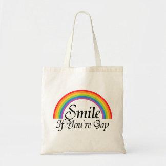 Sonrisa si usted es gay bolsas lienzo