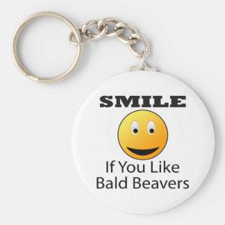 Sonrisa si usted tiene gusto del castor calvo llavero redondo tipo pin