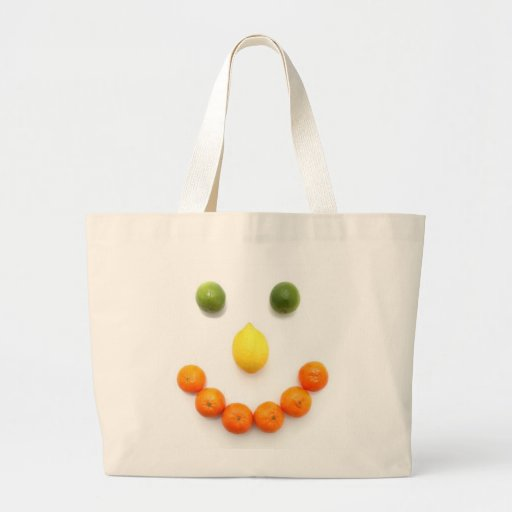 Sonrisa sonriente de los agrios bolsa tela grande