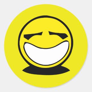 Sonrisa sonriente grande amarilla etiqueta redonda