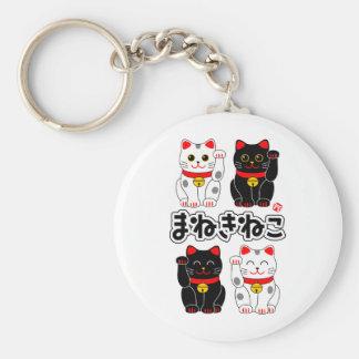 Sonrisa tentando el gato - japonés Manekineko Llavero Redondo Tipo Pin