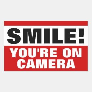 Sonrisa usted está en los pegatinas de la cámara pegatina rectangular