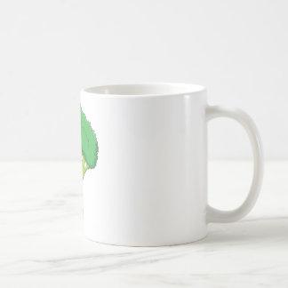 Sonrisa vegetal del bróculi feliz taza de café