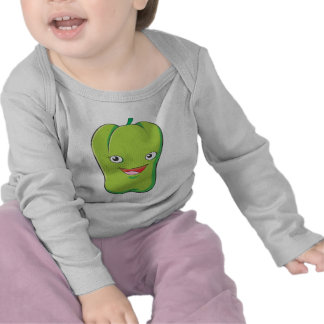 Sonrisa vegetal verde feliz del paprika camisetas