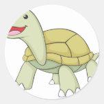 Sonrisa verde de encargo de la tortuga de la pegatina redonda