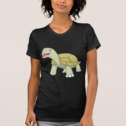 Sonrisa verde de encargo de la tortuga de la camisetas