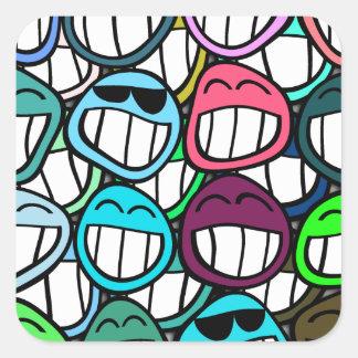 ¡Sonrisa - y el mundo sonríe detrás en usted! Pegatina Cuadrada