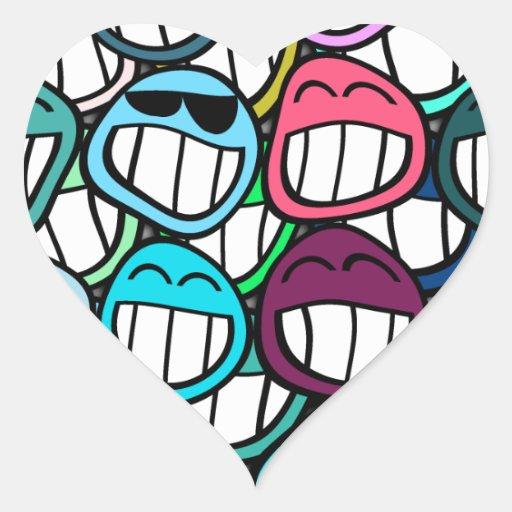 ¡Sonrisa - y el mundo sonríe detrás en usted! Pegatina En Forma De Corazón