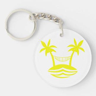 sonrisa yellow.png de la playa de la hamaca de la llavero redondo acrílico a doble cara