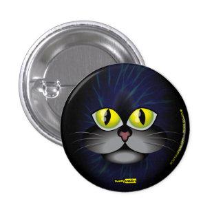 Sonrisas asustadizas - gato negro pin redondo de 1 pulgada