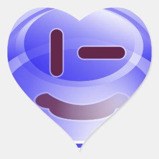 Sonrisas azules pegatina en forma de corazón