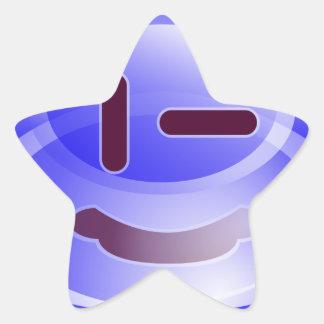 Sonrisas azules pegatina en forma de estrella