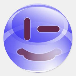 Sonrisas azules pegatina redonda