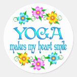 Sonrisas de la yoga etiquetas