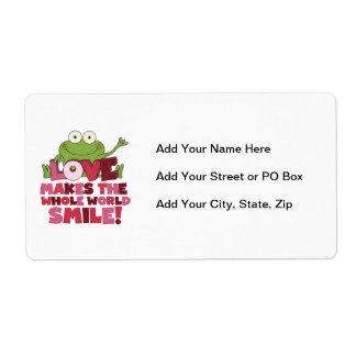Sonrisas del amor de la rana etiqueta de envío