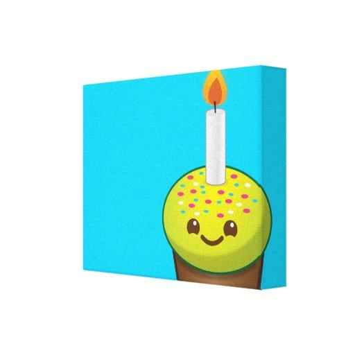 Sonrisas del feliz cumpleaños de la magdalena de C Impresiones En Lona