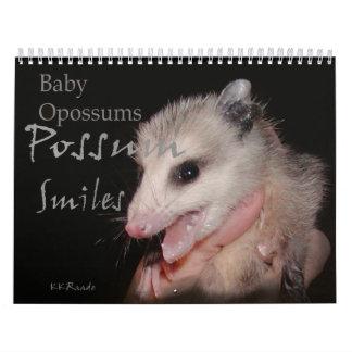 Sonrisas del oposum calendario de pared