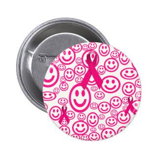 Sonrisas rosadas de la cinta que ayudan pin redondo 5 cm