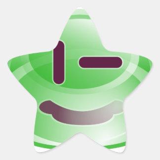 Sonrisas verdes pegatina en forma de estrella