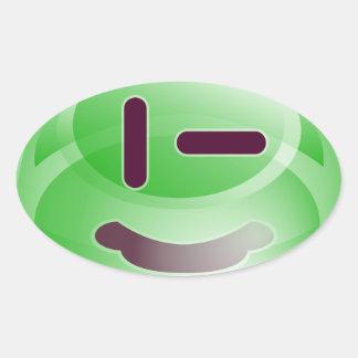 Sonrisas verdes pegatina ovalada