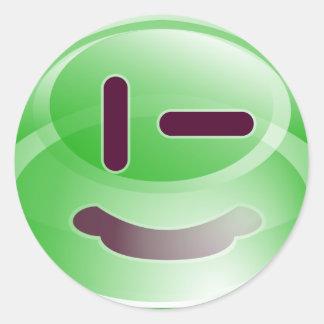 Sonrisas verdes pegatina redonda