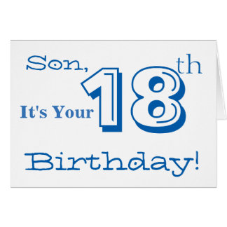 Son 18th birthday gifts on zazzle son39s 18th birthday greeting in blue and white card bookmarktalkfo Choice Image